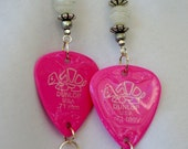 guitar pick earrings, hot pink turtle, white swirled glass and silver accents, Pink cube bead dangles