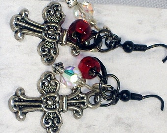 victorian gothic cross earrings deep red jewel tone silver lined beads swarovski ab crystal on black wire