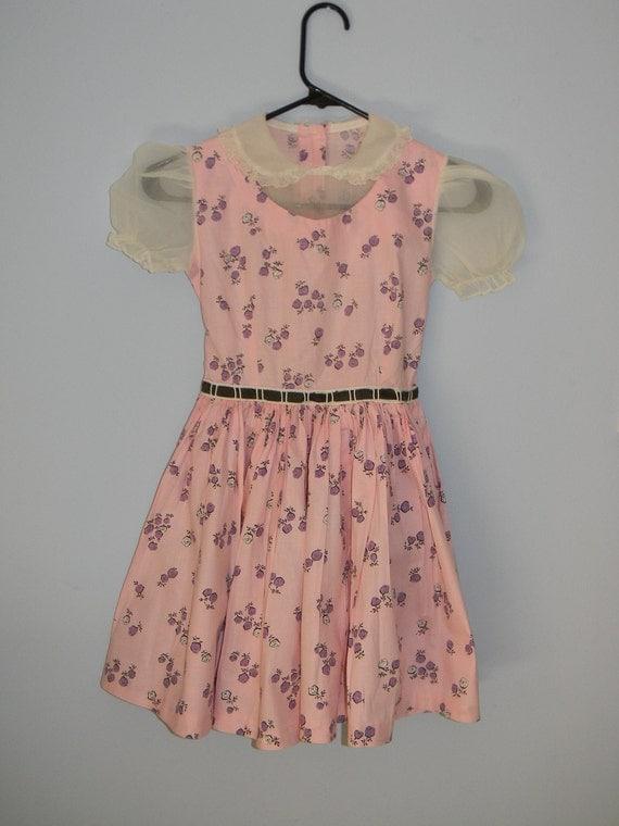 Vintage Little Girls 1950s Puff Short Sleeve Peter Pan Collar Pink Floral Dress