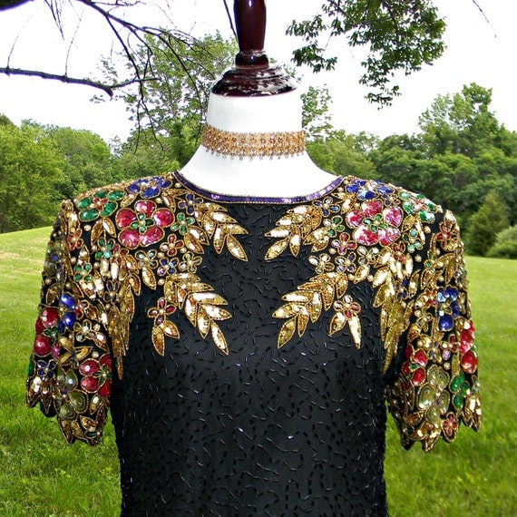 1980s Stenay Beaded Deaded Dress Key Hole Back Size M/L