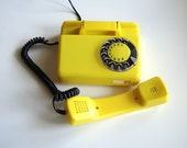 Yellow rotary telephone vintage home decor dial desk phone