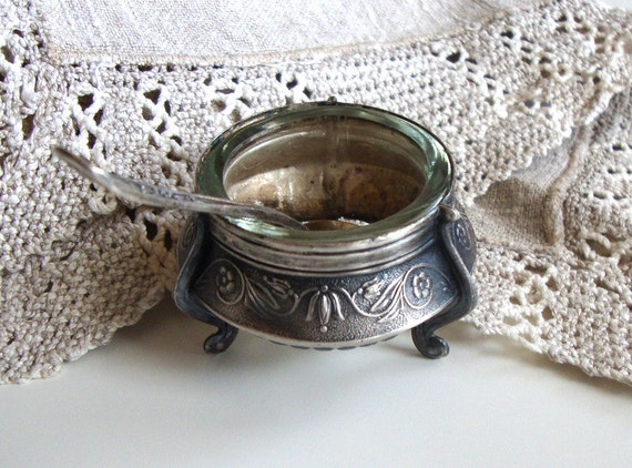 Vintage open salt cellar with spoon, Russian vintage home decor, collectibles