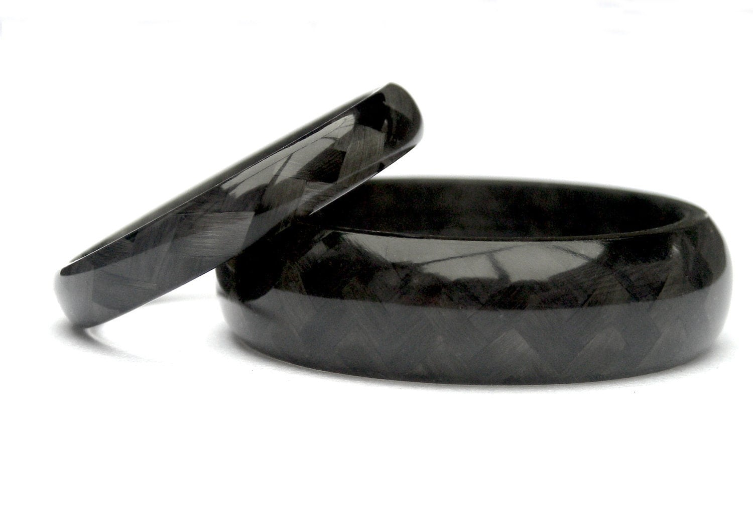 Set of two carbon fiber wedding rings by rosler on etsy for Carbon fibre wedding ring
