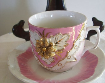 Pink and Gold Coffee Cup