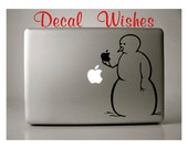 Macbook Decal Snowman Holding Apple Decal Wishes Exclusive Vinyl Macbook Sticker Laptop Decal Apple