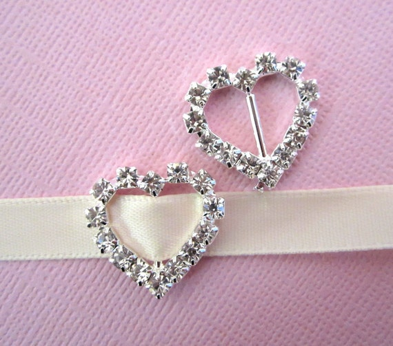 Heart Rhinestone Buckle Slider Small for Bridal Formal Couture Fashion Wear --- 5 pc