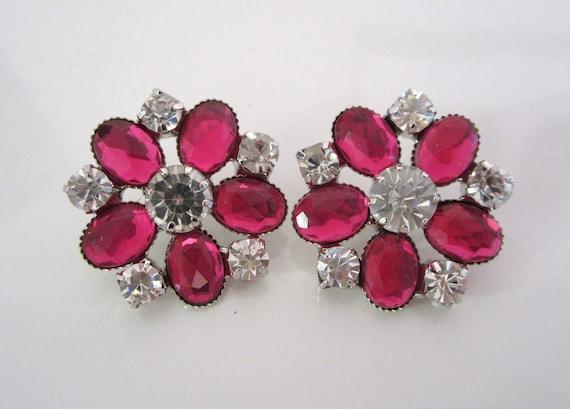 Rhinestone Button Pink Silver Large Bridal Formal Fashion Wear -- 2 pc
