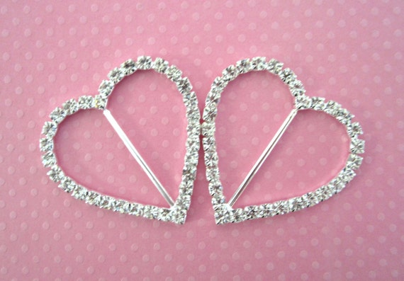 Heart Rhinestone Buckle Slider Large for Bridal Formal Couture Fashion Wear --- 2 pc