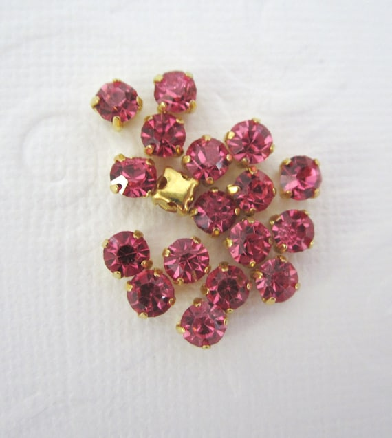 Pink Sew on Rhinestones--Gold colored Setting -- 4MM-- Super Sparkly -- 20 Pcs
