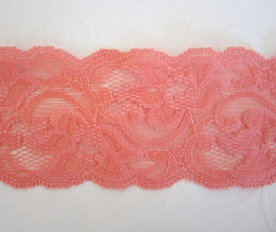 """Coral Stretch Lace --  2 5/16"""" inches wide-- 3 yds"""