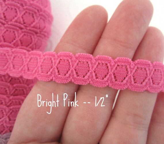 """Narrow Stretch Lace Elastic -- Bright Pink --  1/2"""" inches wide-- 5 yds"""
