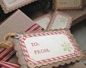 Christmas Gift Tags-Candy Cane Snowflake-Vintage Inspired