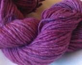 fuchsia merino handspun yarn