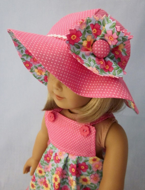 RESERVED for Lisa  - Sundress and Hat in Pink Floral and Dot