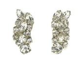 Vintage Rhinestone Earrings Wedding Bridal Clip On