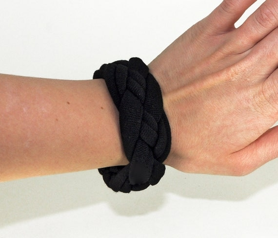 Black Cuff Bracelet Chunky Stackable by Forgotten Cotton