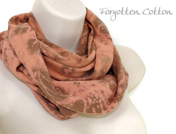Cowl Infinity Scarf Pattern Brown with Hand Printed Tan Abstract