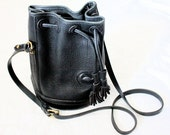 Vintage Dooney & Bourkle Black Leather Bucket Bag