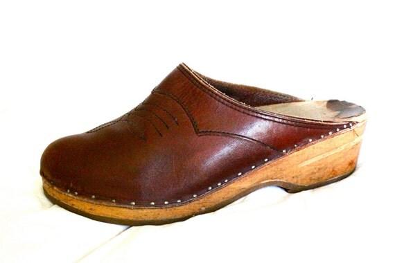 70's Oxblood Leather Wood Clogs Sz 10-11