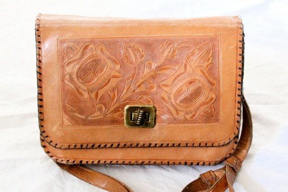 Vintage 70's Tooled Leather Aztec Saddle Handbag