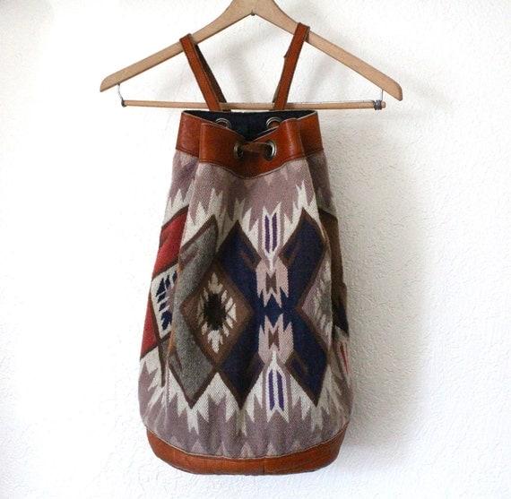 Vintage 70's Oversized Native Kilim Wool Rucksack Backpack Tote