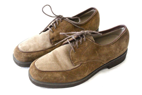 Vintage Hush Puppies Two Tone Saddle Leather Oxfords Sz 7M