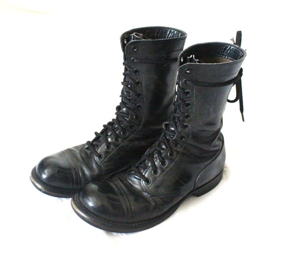 Vintage Corcoran Black Leather Military Combat Lace Up Ankle Boots