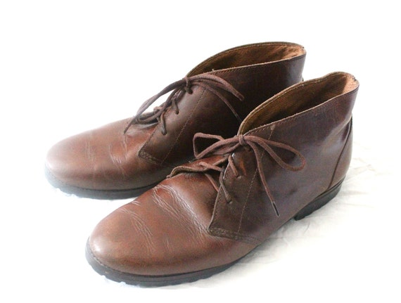 80's Bourbon Brown Leather Lace Up Ankle Boots Sz 10