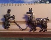 TREASURY ITEM: Vintage Sterling Silver Llama and Keeper Brooch