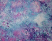 Hand Dyed  Fabric, Snow Dyed Cotton, Fuchsia and Blues, 1 Yard (MH)