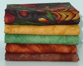 Hand Dyed Fabric and Hoffman Fabric Bundle, Rich Autumn Colors, Total 3 Yards #21