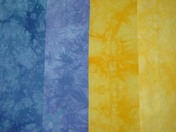 SALE Hand Dyed Fabric - Cotton Quilt, Blue-Purple and Bright Yellow-Orange , 4 Fat Quarters (LS)