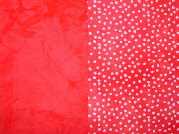 SALE Hand Dyed Quilt Fabric and Hand Dyed Orange Polka Dots Set, Cotton, Half Yard Each (LS)