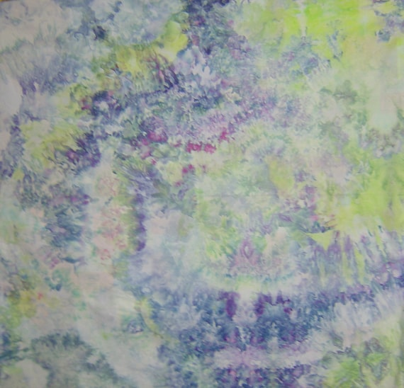 Hand Dyed Fabric, Ice Dyed Cotton, Hydrangeas, 1 Yard (LS) #42