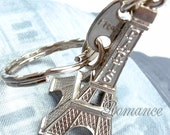 Paris Eiffel Tower Charm Pendant Retro Silver or Anitqued Brass or Gold, French Keychain & Paris + France Tag BONUS included