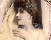 "Digital Download Romantic Wedding Girl French Antique Postcard Photograph Photo Edwardian 300dpi ACEO ATC   3.5 x 5.5 Print 1P ""CHANTELLE"""