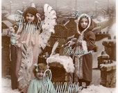 "French Antique Postcard Photograph Digital Download Christmas Little Girls in the Snow Children ""Joyeux Noël"" 300dpi Print 9P"