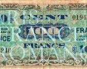 Old French Money, 2 for 1 Digital Downloads PARIS France Antique Vintage 1944 Old 100 Francs Bill Front Back Print 33P