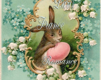 EASTER Victorian Antique Postcard Digital Downld Brown Long Ears, Pink Egg, Gold Frme, Lily of the Valley, White AquaBlue Flowers Print 21P
