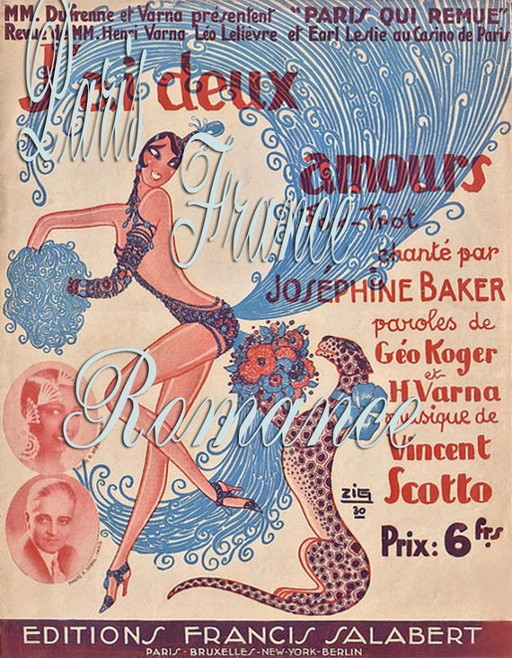 Items similar to Antique French JOSEPHINE BAKER Ad Poster ...