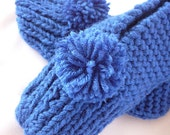 MADE TO ORDER - Knitted Slippers with Pom Poms Cobalt Blue Women's Size 7-9