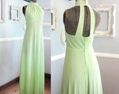 Lime Green Mod Maxi Dress // Vintage 60s Long // Size 7