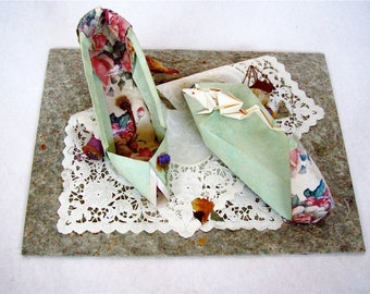 "Picture/Sculpture:  ""Cinderella's Origami""-- Paper and Found Objects--15"" L  X  11"" W  X  5""  H--Decorative Fancy 3-D"