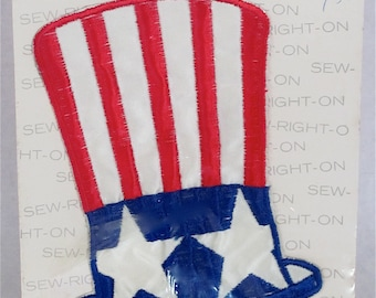 "4th of July--""Uncle Sam"" Hat--Fabric Applique--Embroidered:  ""Stars and Stripes""--6"" Tall  X  4"" Wide--Red, White, &  Blue"