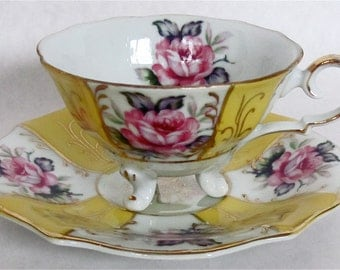 TREASURY ITEM Floral Teacups and Saucers--Set of 3--plus one extra cup: Yellow, White, Gold Design with Roses