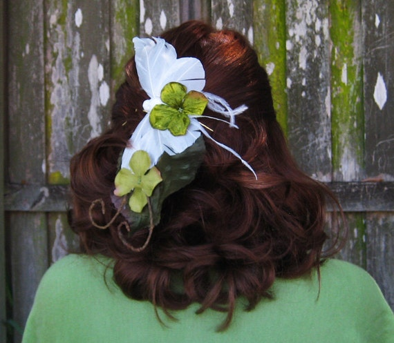 SALE Green Woodland Butterfly Hair Clip