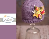 Newborn RTS Newborn Hat - Flower Baby Beanie -  Baby Hat in purple, yellow, red, lavender, green - Infant Photo Prop