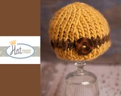 Newborn RTS Newborn Hat - Vintage button Baby Beanie -  Baby Hat in mustard yellow, brown - Infant Photo Prop