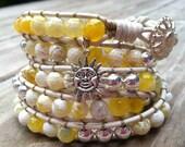 Yellow Beaded Leather Wrap Bracelet 5X, Boho Bohemian Beach Bracelet, Hipster jewelry, Charm Bracelet with sun charm