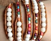 Bohemian Beaded Leather Wrap Bracelet with white Turquoise, multicolored 5X wrap, Boho leather bracelet, Beach boho jewelry